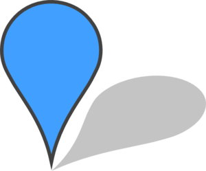 Transparent pin shadow. Blue with and transparency