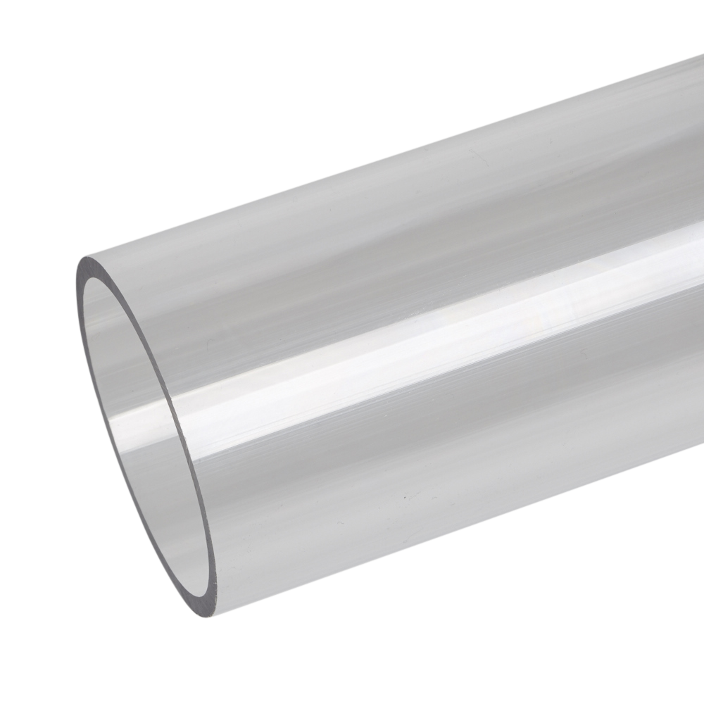 Transparent pipes cylinder. Polycarbonate extruded clear tube