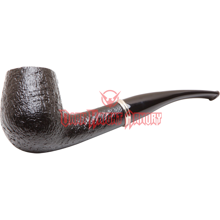 Transparent pipes tobacco. The black sandblasted billiard