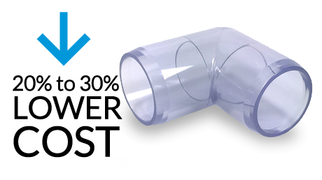 Transparent piping. Clear pvc fittings pipe