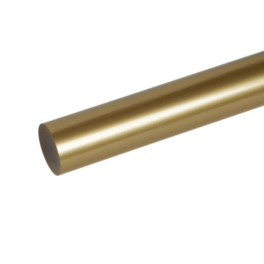 Transparent piping acrylic. Extruded gold rod