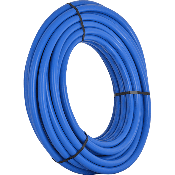 Transparent piping pex. Blue pipe coils flexible