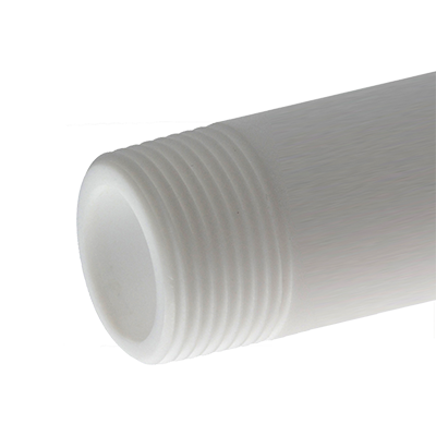 Transparent piping threaded. Pipe both ends