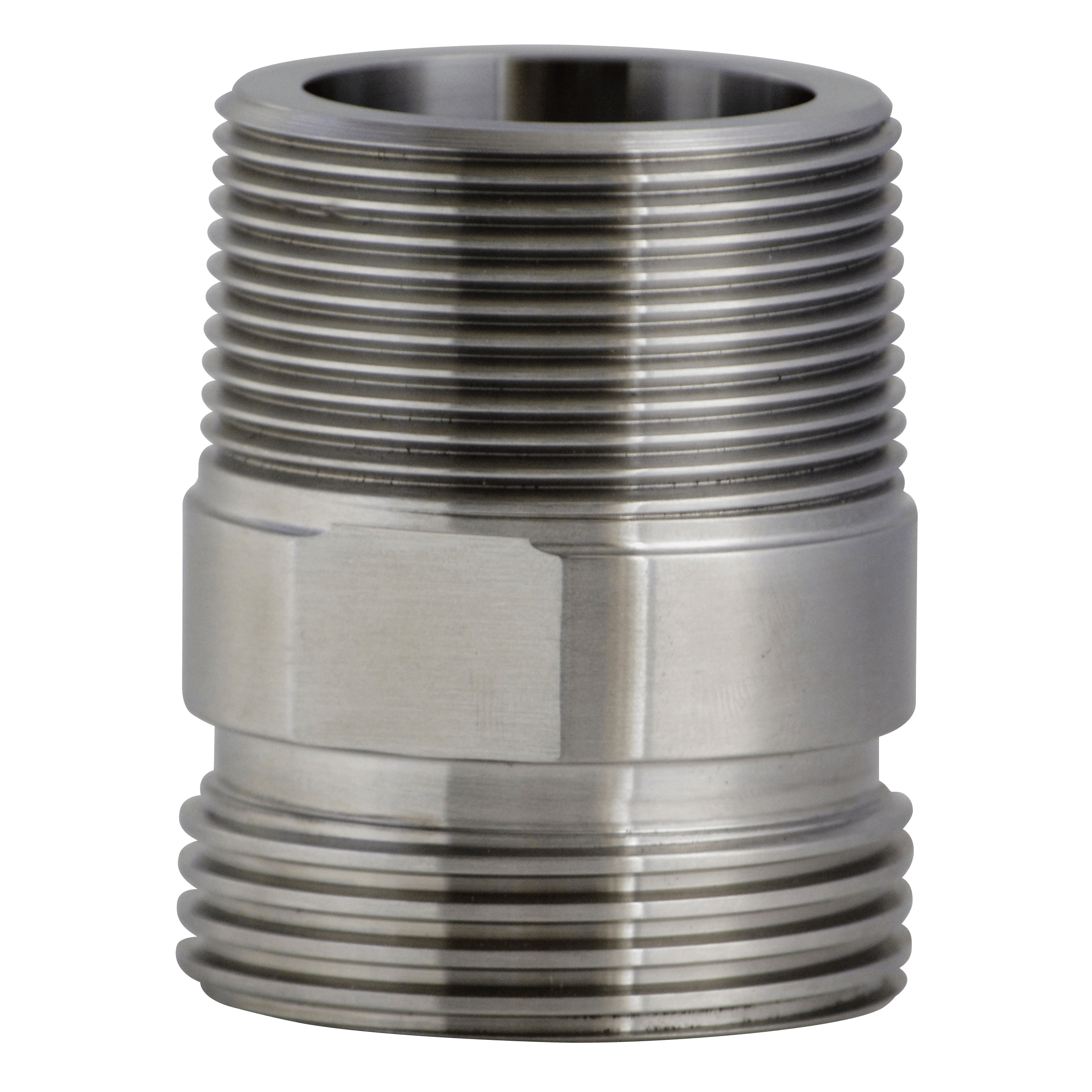 Transparent piping threaded. Adapter acme thread