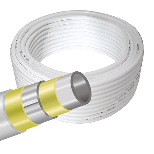 Transparent piping wire. Pex multilayer pipes for