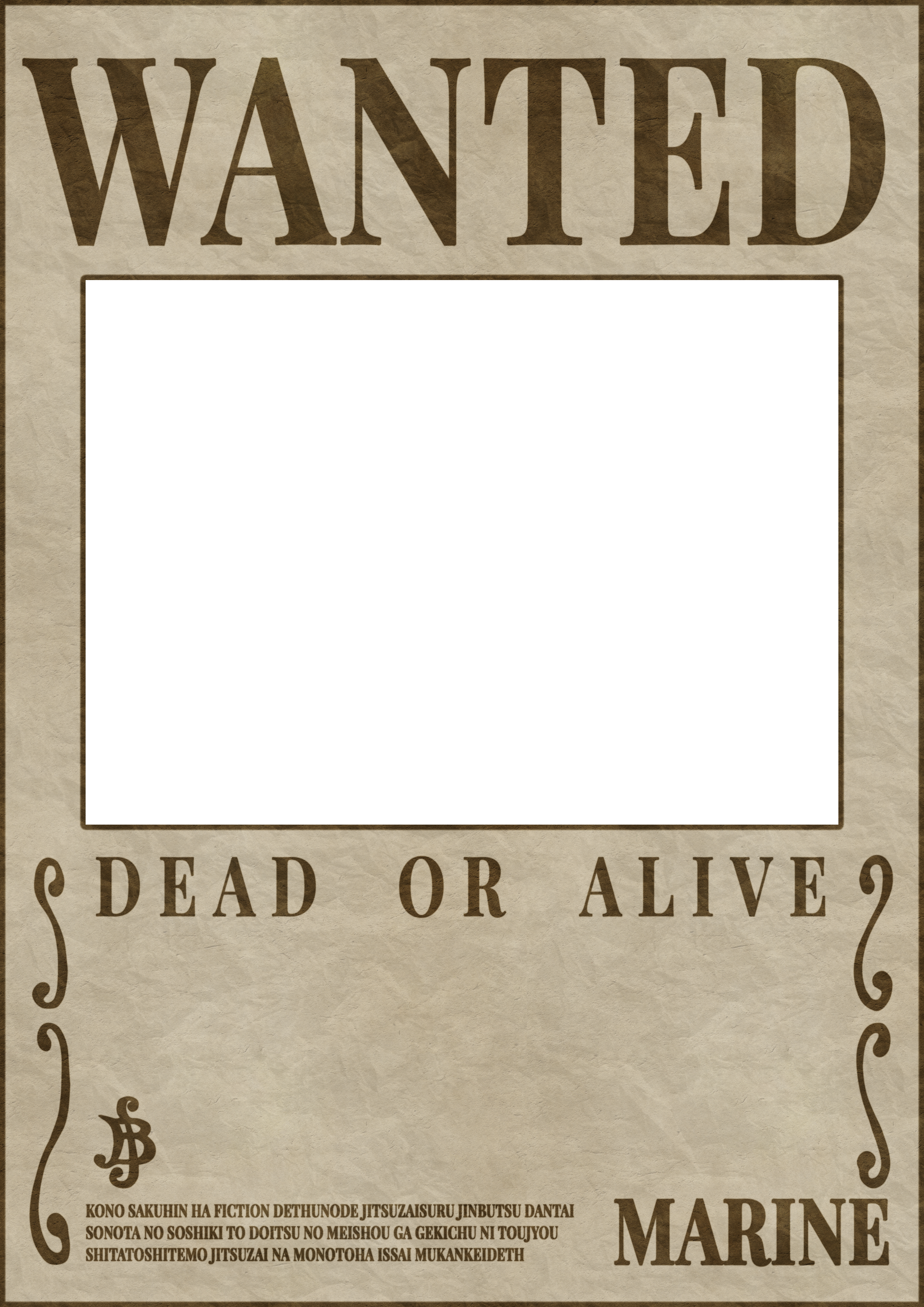 Wanted transparent dead or alive. One piece poster template