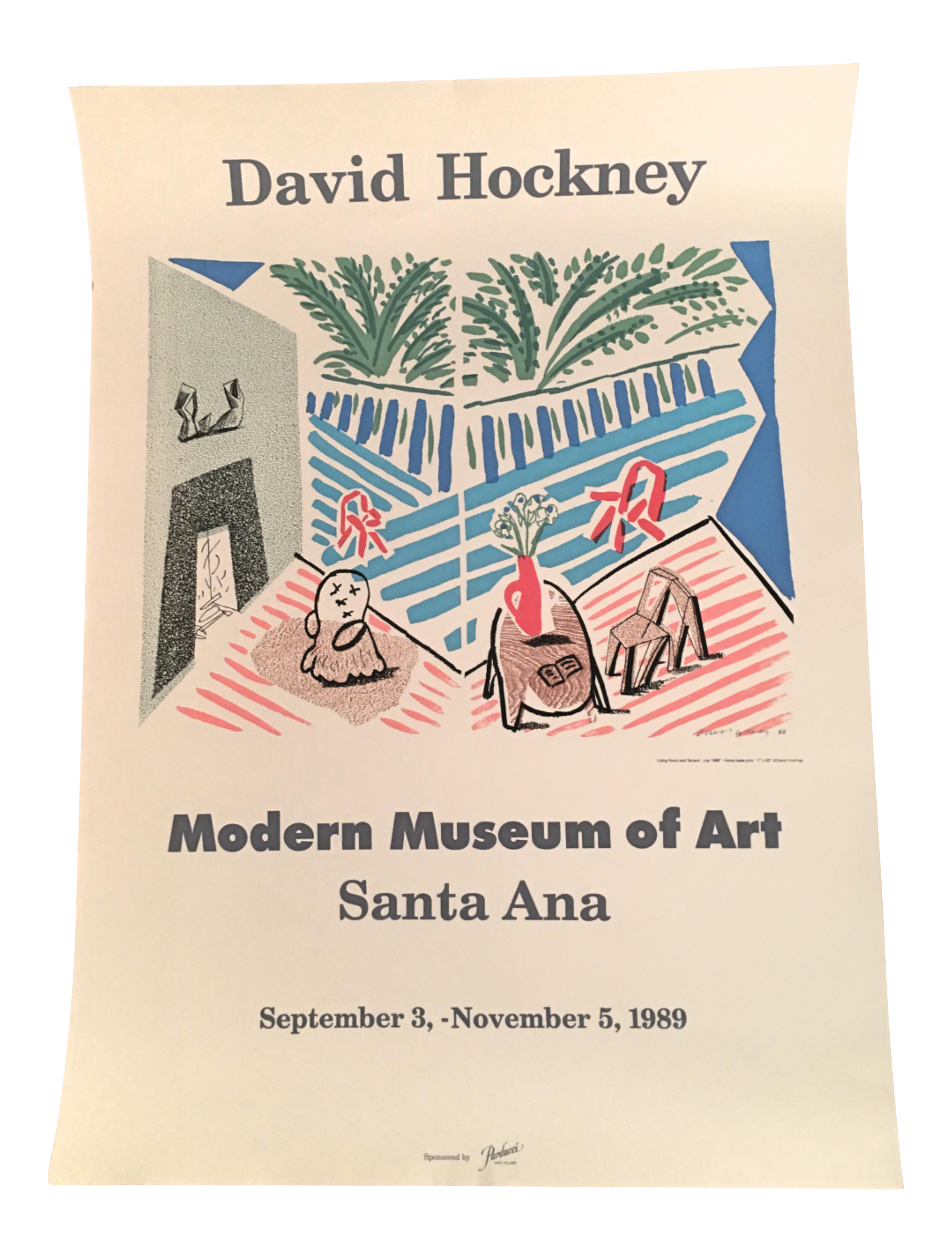Transparent poster modern text. David hockney museum of