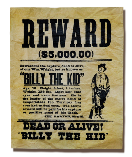 Wanted transparent wild west. Old tagged poster ouramendments