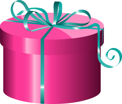 Transparent present cylinder. Holiday gift tag
