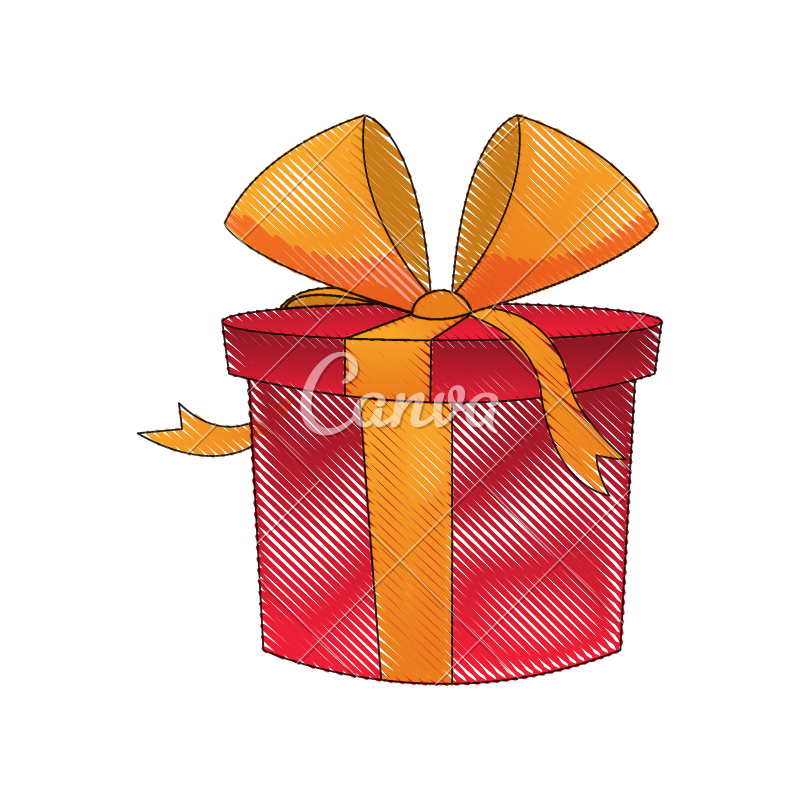 Drawing present gift box. Red icons by canva