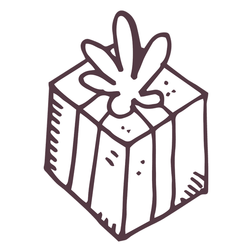 Drawing present vector. Gift box hand drawn