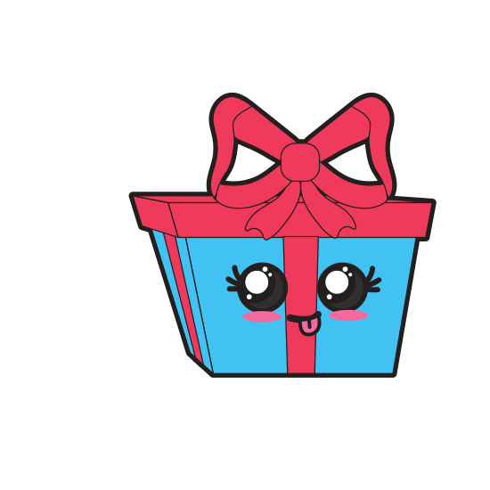 Transparent present kawaii. Cute funny gift icons