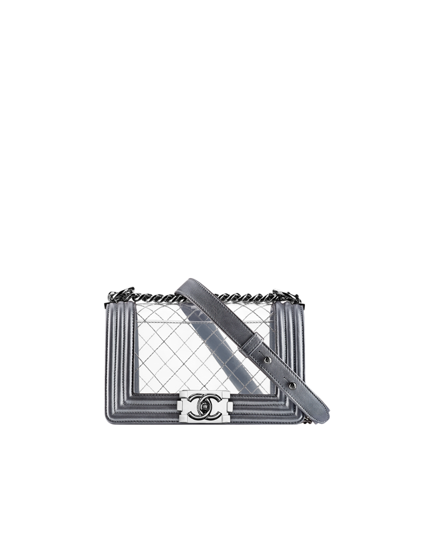 Transparent purses clear pvc. Chanel boy flap bag