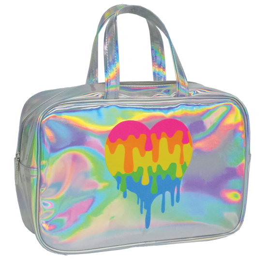 Transparent totes holographic. Dripping heart large cosmetic