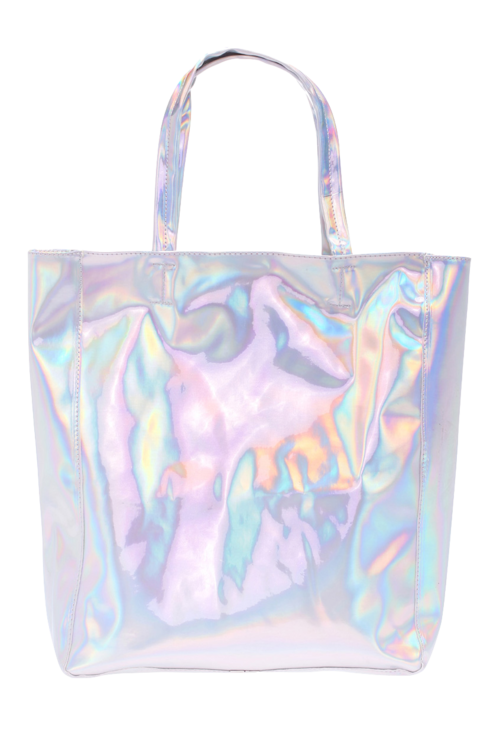 Transparent totes holographic. Romwe laser silvery bag