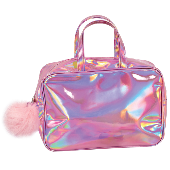 Transparent purses holographic. Pink large cosmetic bag