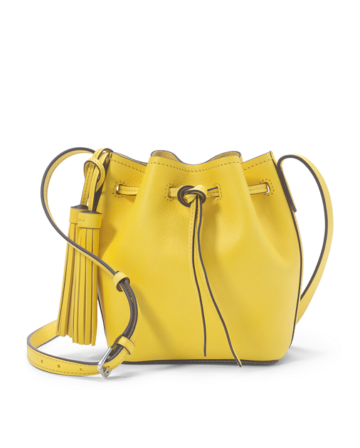 Transparent purses yellow clear. Mini leather bucket bag