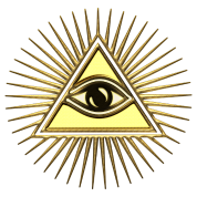 Transparent pyramid all seeing eye. Symbol of omniscience by
