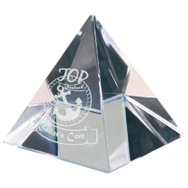 Transparent pyramid crystal. Small classic awards promotions