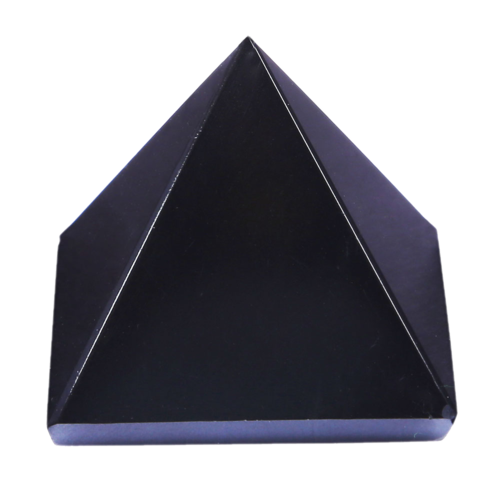 Transparent pyramid crystal. Black agate at rs
