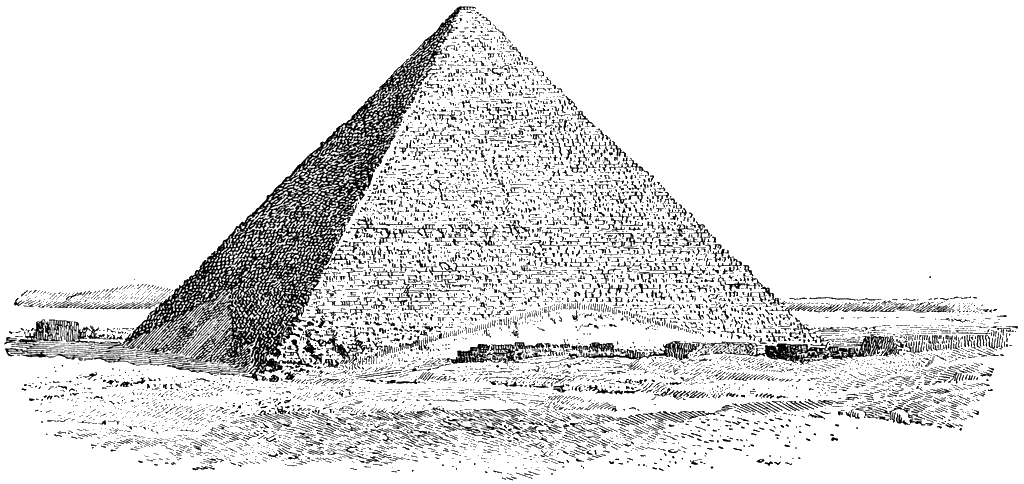 Transparent pyramid drawing. Collection of high