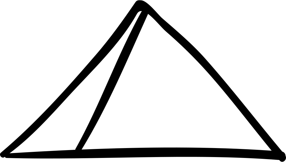 Transparent pyramid hand drawn. Outline svg png icon