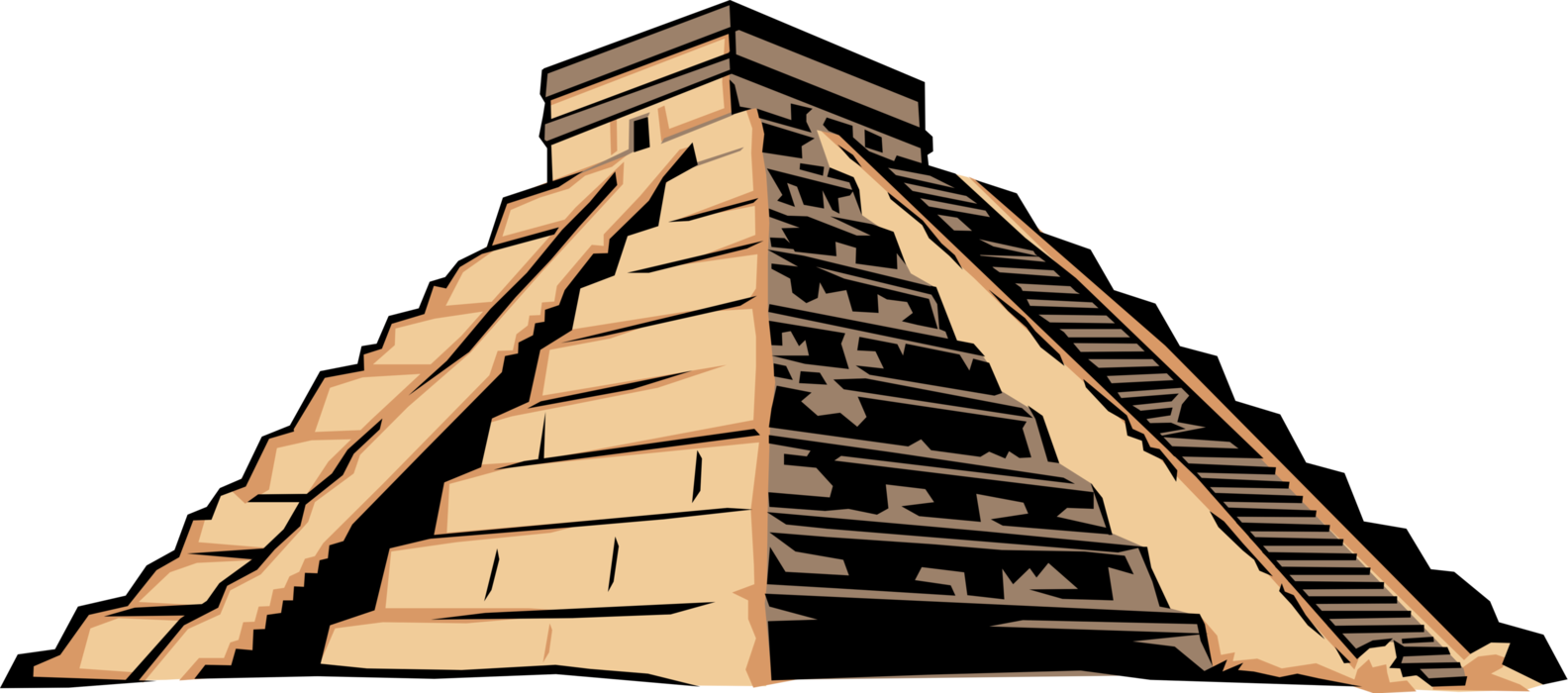 Transparent pyramid mayan. Aztec or inca vector