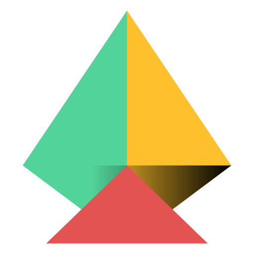 Transparent pyramid yellow. Triangle apex flat png