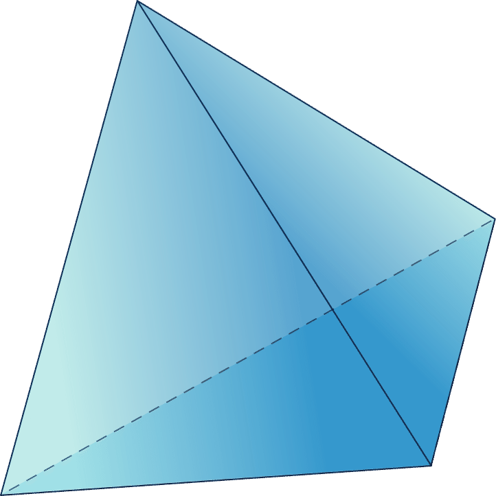 Transparent pyramid rectangular. Faces edges and vertices