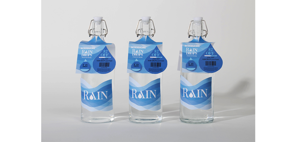 Transparent raindrop water bottle. Packaging kelsey rhea design