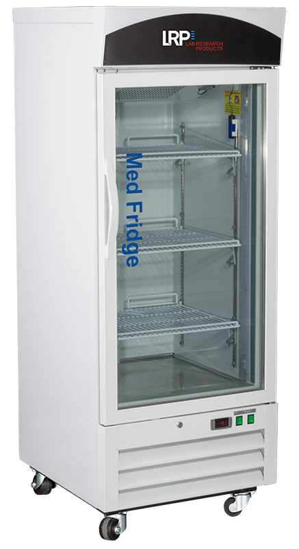 Transparent refrigerator clear door. Pharmacy refrigerators lab research