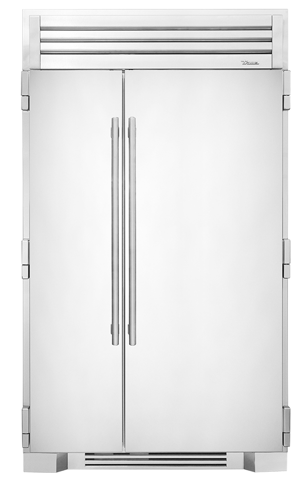 Transparent refrigerator residential. Side by freezer for