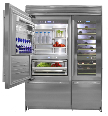 Transparent refrigerator residential. Food quality depends on