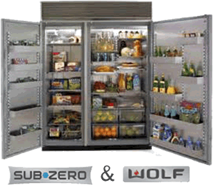 Transparent refrigerator zero. Sub side by fridge