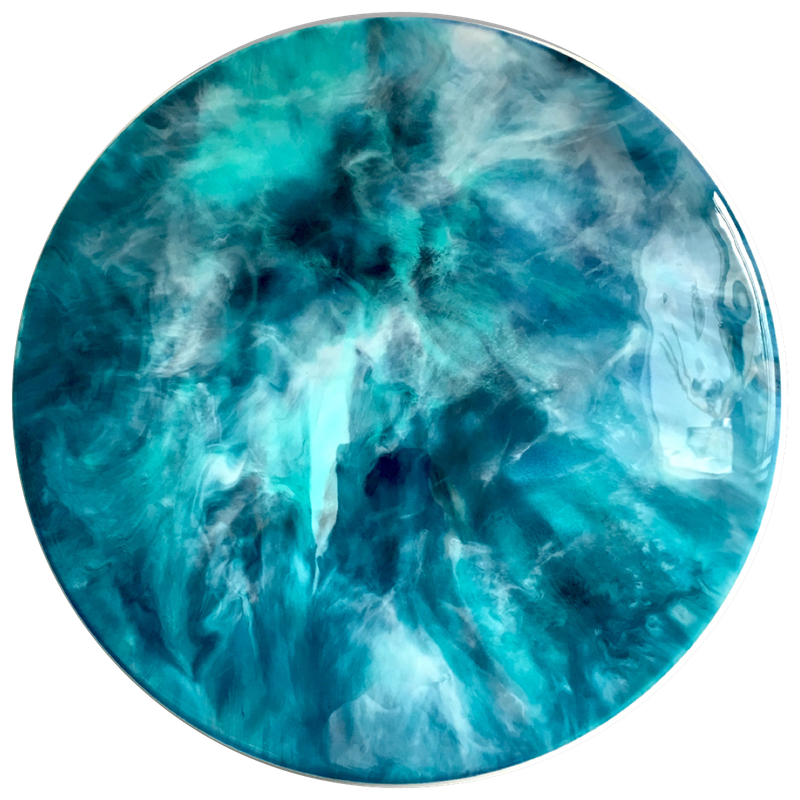 Transparent resins teal. Blue waves resin abstract