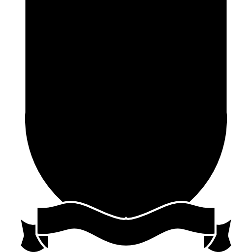 Transparent ribbons bottom. Shield badge with ribbon