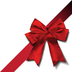 Transparent ribbons present. Isolated photos of gift