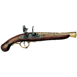 Transparent rifle old fashioned. Flintlock pistols blunderbuss and