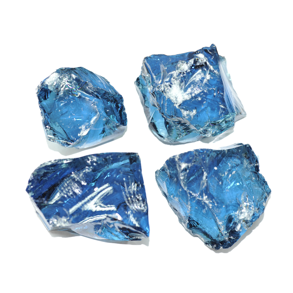 Transparent rocks colored glass. Garden rock suppliers and