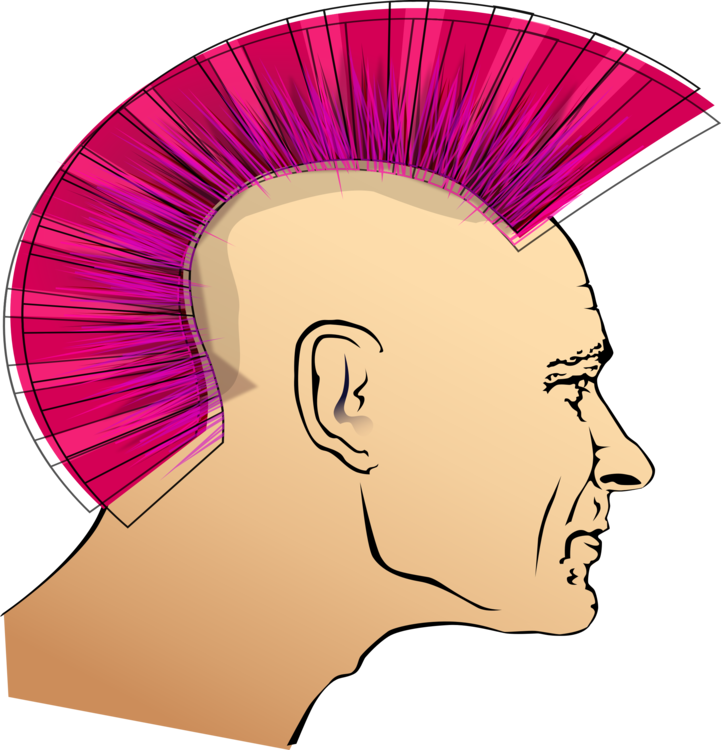 Mohawk vector man long hairstyle. Punk rock subculture drawing