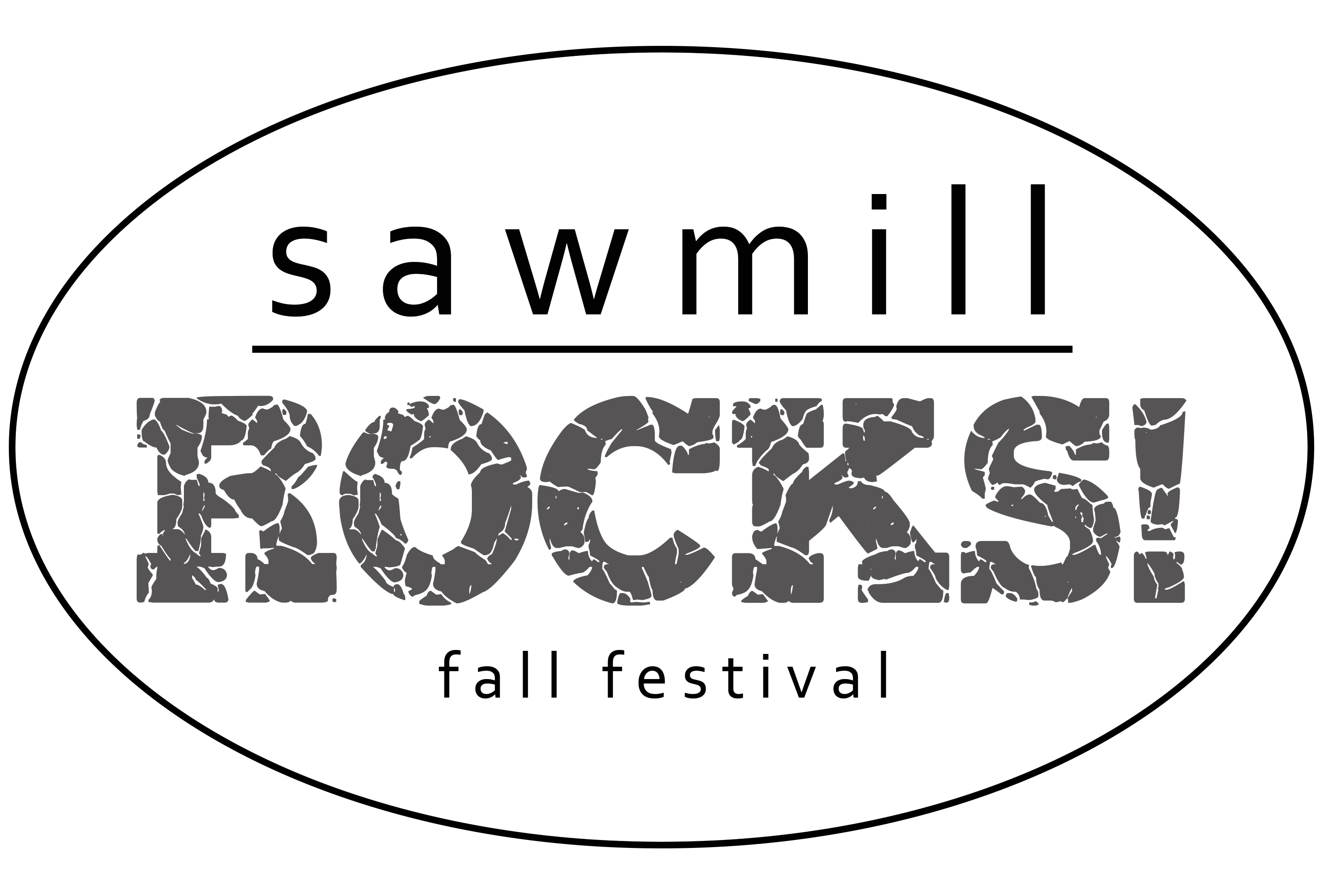 Transparent rocks text. Sawmill fall festival cancelled