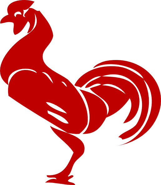 Transparent rooster red. Image library stock
