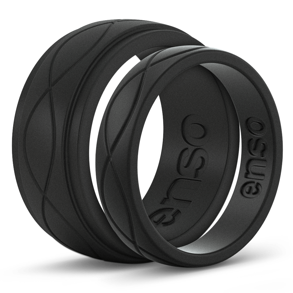Silicone rings bands unique. Transparent rubber wedding band banner black and white