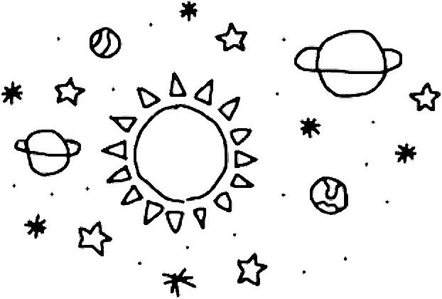 Transparent saturn doodle. Galaxy doodles planets stars