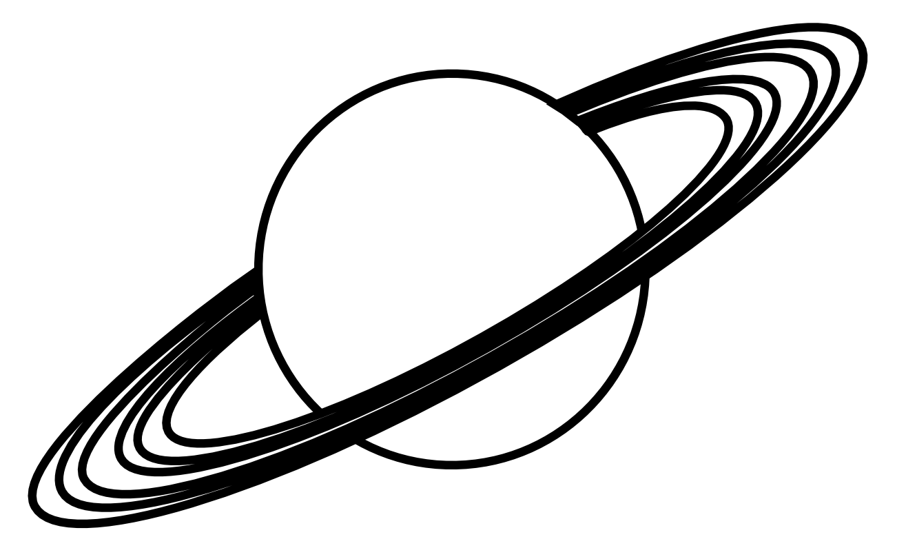Transparent saturn drawn. Collection of drawing