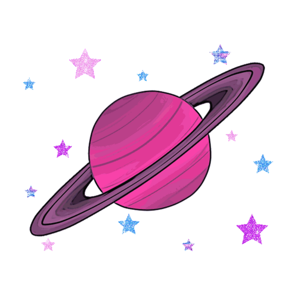 Transparent saturn kawaii. Vector library cute