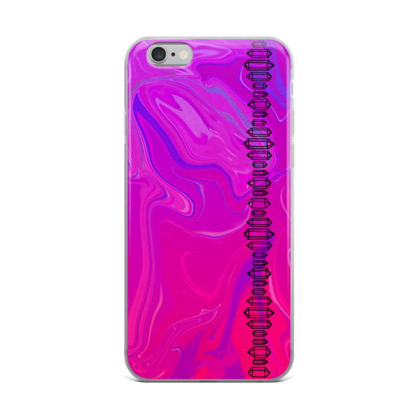 Transparent scratches dust. Pink aura crystal iphone