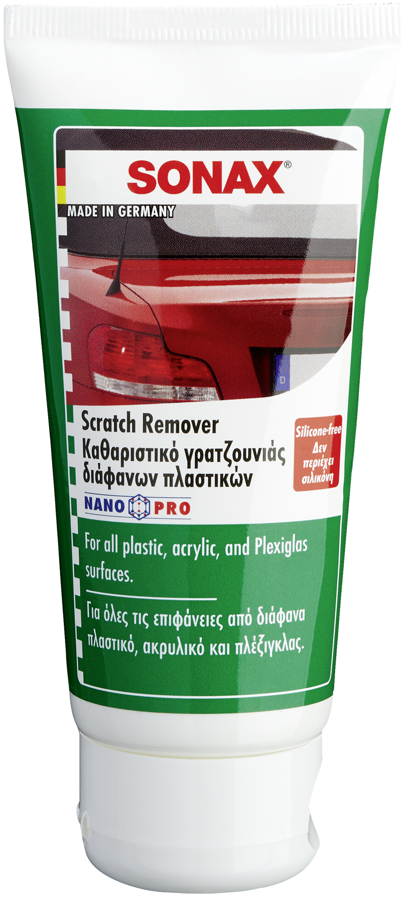 Transparent scratches plastic. Sonax scratch remover cleaning