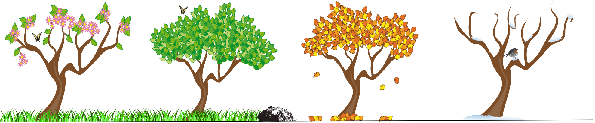 Transparent seasons clipart. Jpg black and