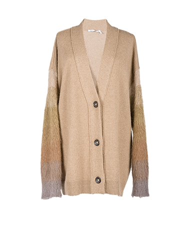 Transparent shading sweater. Baby camel buttons cardigan